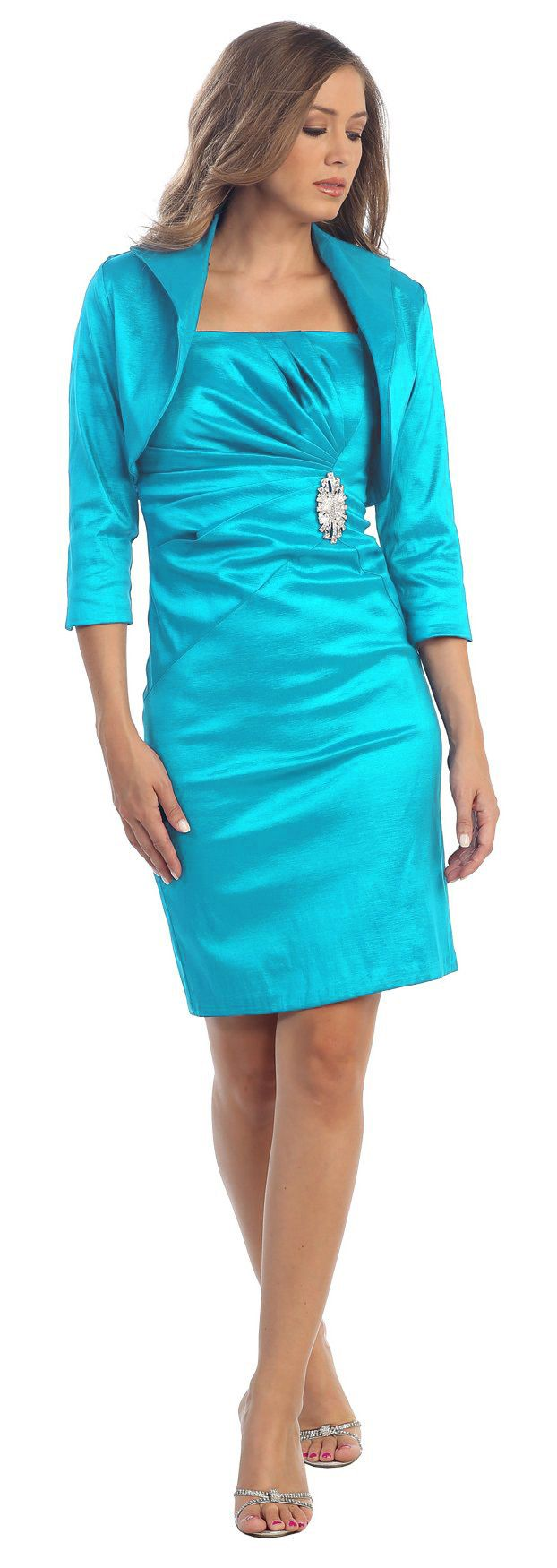 Taffeta Knee Length Turquoise Dress Includes 3/4 Length Bolero Jacket