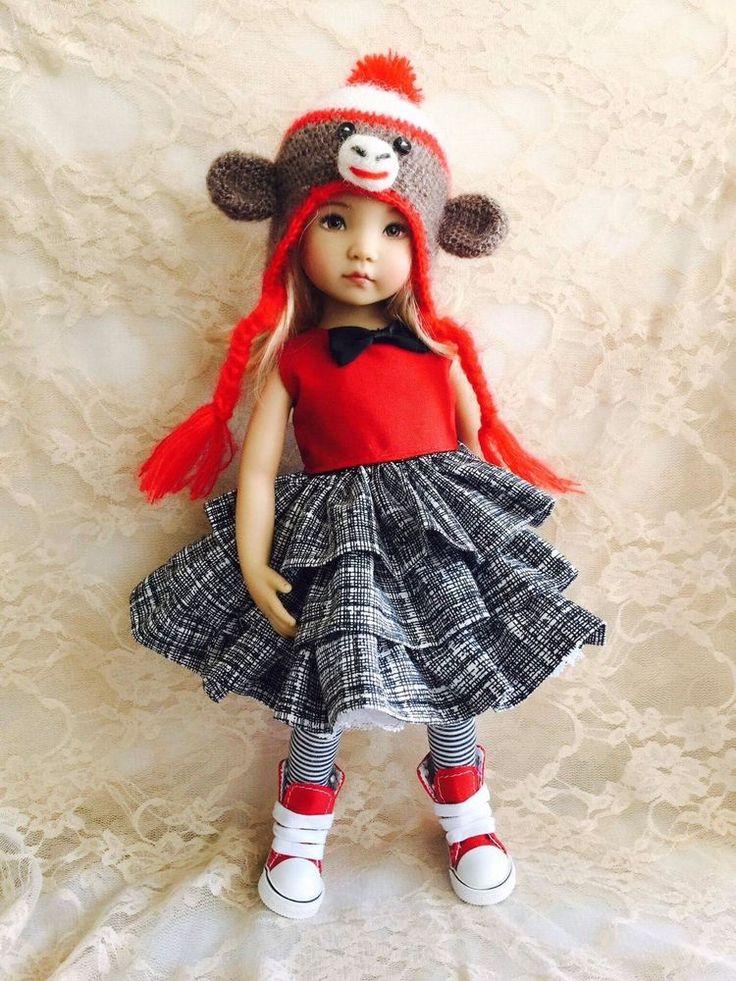 Dianna Effner Little Darling My Meadow Avery Liz Frost Mia Sock Monkey Dress Hat
