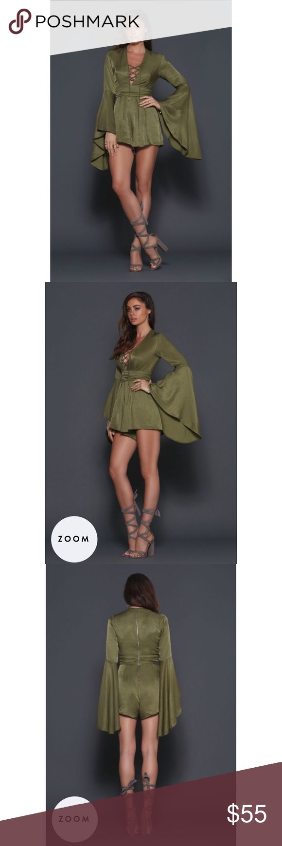 Olive Green Bell Sleeve Romper A chic alternative to a party dress! With on-trend Bell Sleeves and Tie detailing at the bust, this playsuit is a season must have! It has a ruched waistband, internal pockets in shorts. 100% Polyester :) brand new. Pants Jumpsuits & Rompers