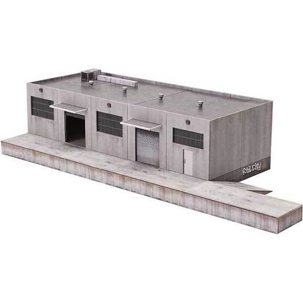 Modular Warehouse In Green Metal Siding Downloadable Paper Model Model Trains Paper Models Model Railroad