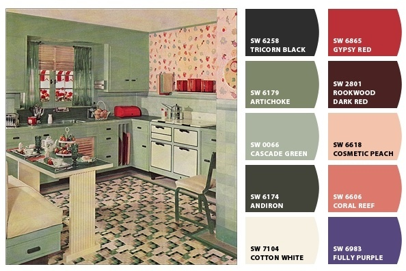 1930s kitchen from American Vintage Home on Flickr (http://www.flickr.com/photos/americanvintagehome/3038906140/in/set-72157606580042229/), run through Sherwin-Williams Chip-It.
