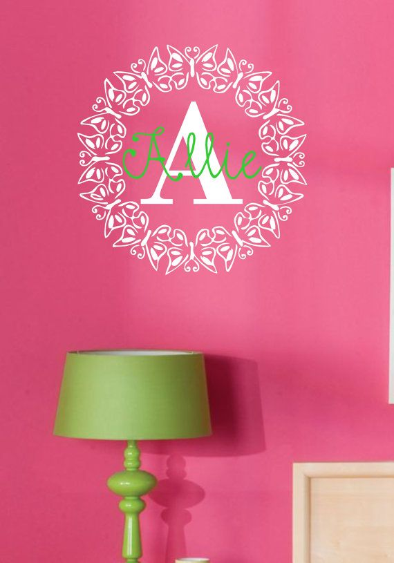 Butterfly Monogram with Name Vinyl Wall Decal