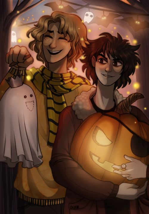 sabertooth-raccoon: Happy EARLY SHUSH Halloween Guys!! So recently I had the opportunity to do an art collab with the amazing @cindersart!! We decided on a Solangelo Halloween theme, and LOOK AT THIS GORGEOUS LINEART. I had such an incredible time coloring this piece. The atmosphere I got from the original lineart was so cute and playful with the lanterns so I did my best to bring that out with the colors.