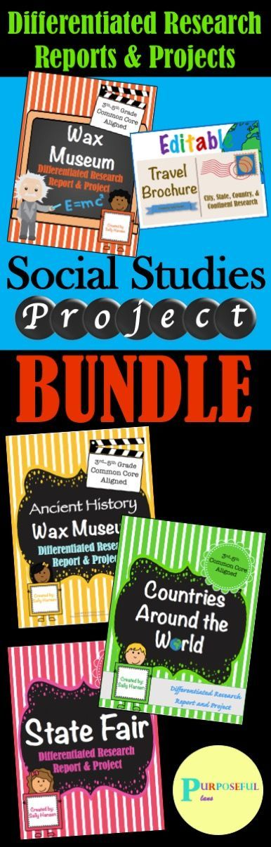 Engaging and ready-to-go social studies projects for the entire year! Save 30% when purchasing this bundle! There is a Biography Wax Museum, Ancient History Wax Museum, State Fair, Country Project, and a (city, state, country, and continent) travel brochure! Students can write a 5 paragraph research report or the graphic organizer can be used in place of the report for differentiated instruction. There are many choices in each project to change the requirements. #socialstudies