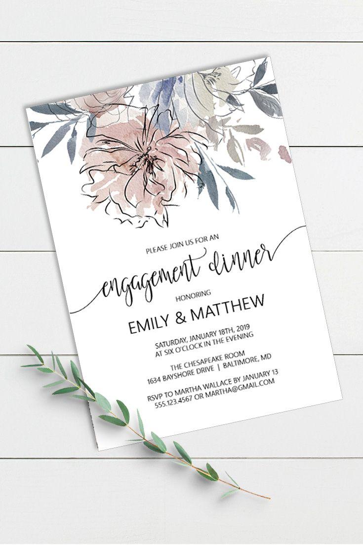 Floral Engagement Dinner Invitation Pdf Template Editable
