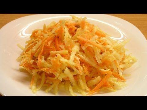 Салат из сельдерея и моркови / Celery root and carrots salad ♡ Продукты:  - 1 средний корень сельдерея,  - 3 моркови,  - 100 г ядер грецкого ореха,  - 1 лимон,  - 2 щепотки семян льна, - растительное масло.