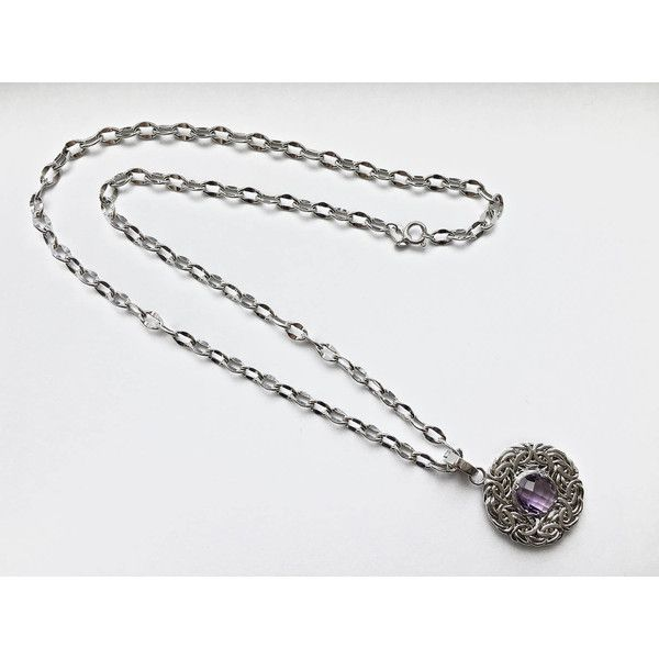 Romantic Smaller and Feminine 14K White Gold 16 Inch Chain Necklace... ($145) ❤ liked on Polyvore featuring jewelry, necklaces, prom necklaces, amethyst pendant necklace, 14k pendant, amethyst pendant and round pendant necklace
