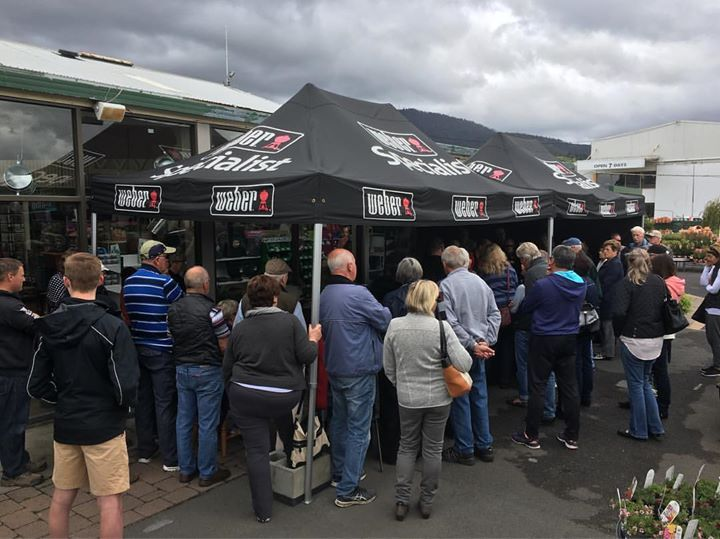 Fantastic turnout for our 1st Weber cooking demo today from @betterbbqs