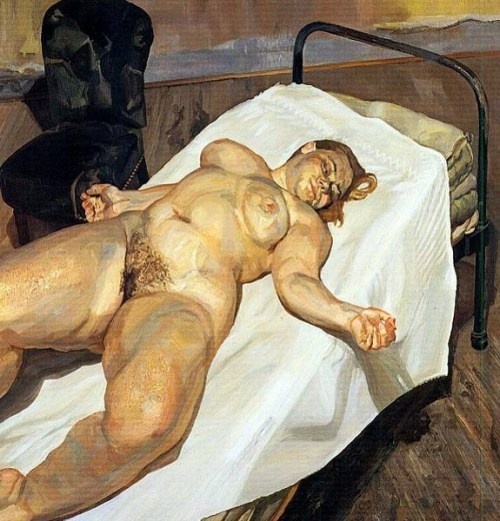 Naked girl with a green chair by Lucian Freud