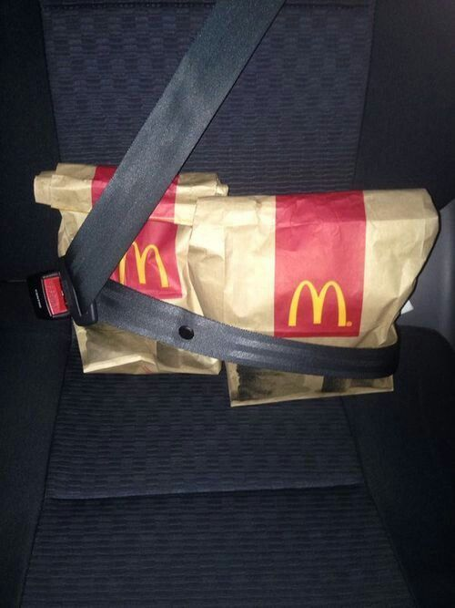 """Where's the food?"" ""Back seat."" *facepalm*"