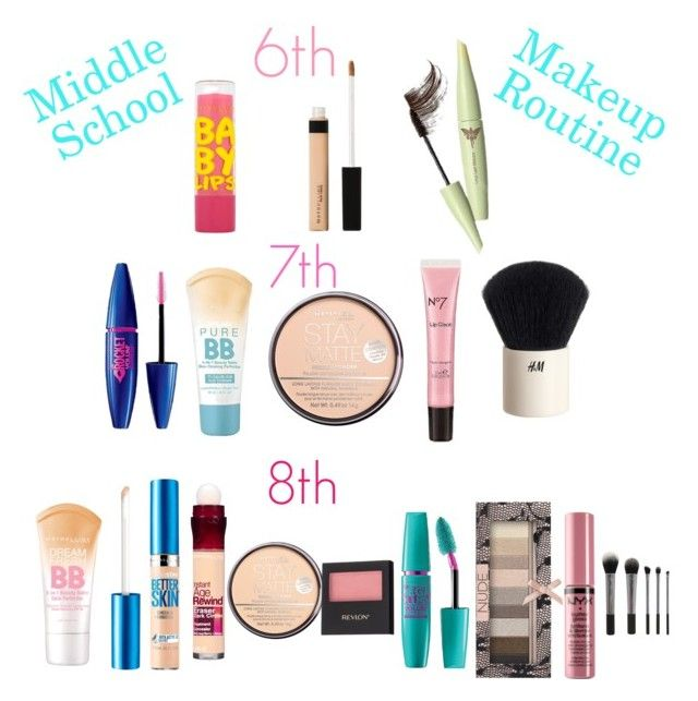 """Middle school makeup"" by carriemebetween ❤ liked on Polyvore featuring beauty, Maybelline, Rimmel, Pixi, Boots No7, H&M, Physicians Formula, Revlon and NYX"