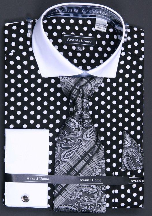 Mens White French Cuff Dress Shirt