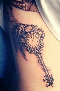 Baby tattoo. Put time of birth on clock with birthday and cursive in the name on the key shaft!