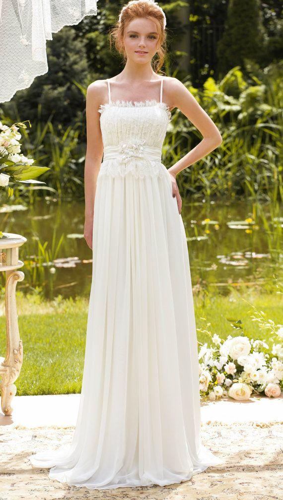Romantic wedding gown boho beach wedding dress vintage for Romantic bohemian wedding dresses
