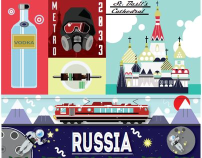 Russia poster illustration