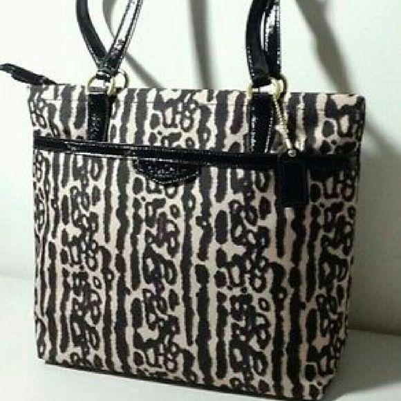 COACH Leopard Ocelot Animal Print Tote Bag F31901 Coach Leopard Tote bag Dimensions are approximately 10.5 x 3.5 x 10.5 - medium Tote Coach Bags Totes