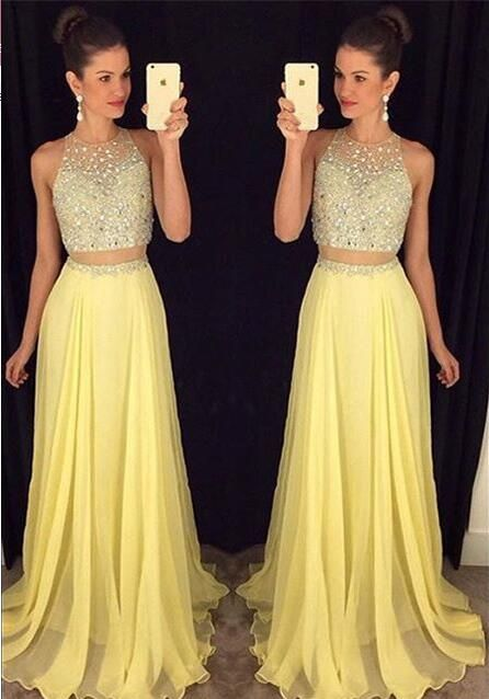 Charming Two Pieces Chiffon Beading Prom Dress,Sexy See Through Evening Dress,Sexy Backless Prom Dress