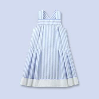 Robe rayée en lin et coton - Fille - BLANC/BLEU - Jacadi Paris