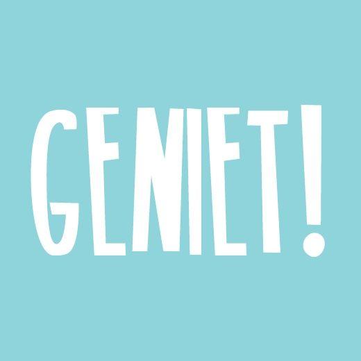 Sticker GENIET! Ontwerp: byBean. Je shopt ze hier: http://www.bybean.nl/stickerlichtblauwgeniet