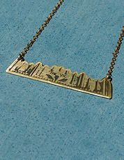 "Wellington New Zealand building necklace ""The Vic"". Hand made jewellery by Ella Vi Pairman. Brass necklace."