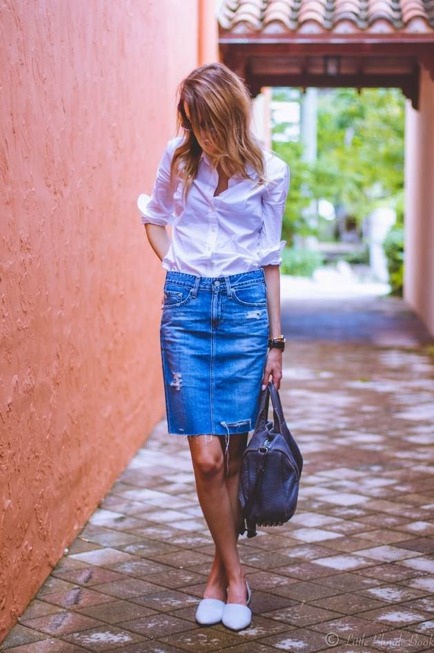 Blonde Ripped Denim Pencil Midi Skirt