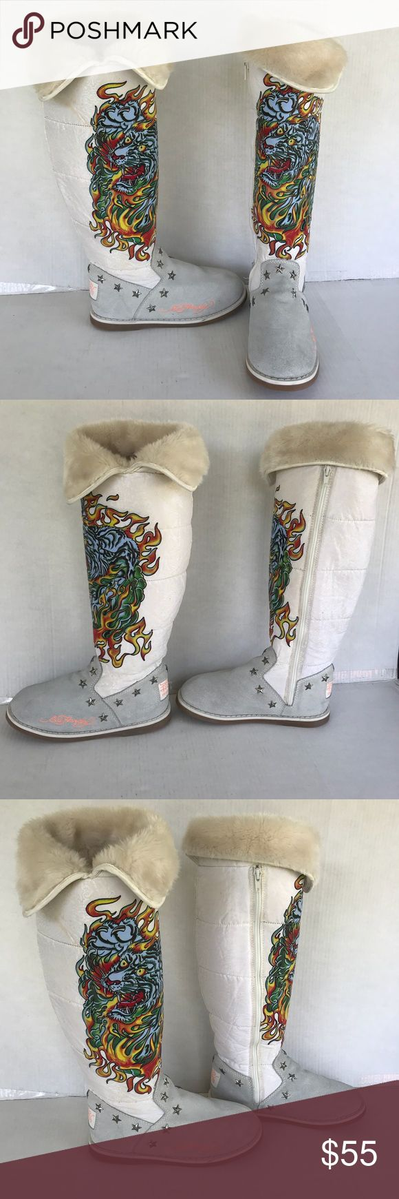 Don Ed Hardy Designs Knee High Boots Fur Lined Zip Comfortable knee high boots with signature art by Don and Ed Hardy Designs. They are very warm with inside zipper. Don & Ed Hardy Designs Shoes Winter & Rain Boots