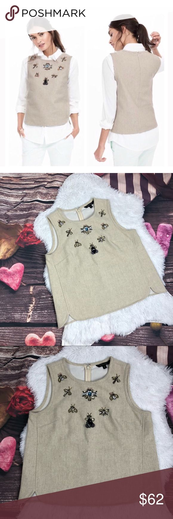 Banana republic bug Embellished top Make a statement with this tank - jewel bug embellishments makes this sleeveless high neck tank sparkle!. Invisible back zipper. Material: Cotton/Linen. In great condition size medium petite Banana Republic Tops Blouses