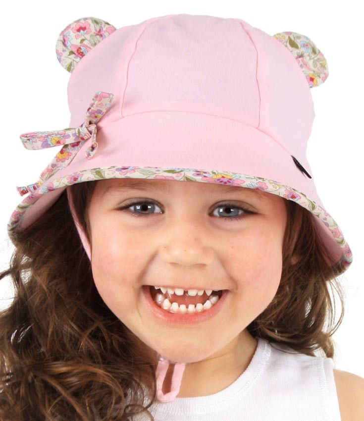 Girls Baby Bucket Hat - Paisley Trim with Strap. Available in 3 sizes from birth. Rated UPF50+ Excellent Protection.  http://www.bedheadhats.com.au/paisley-trimmed-baby-bucket-hat-with-strap