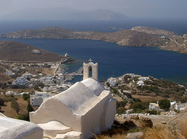 Magnificent view of Ios town over the hill (Cyclades group of islands, Greece).