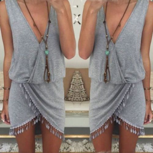 2016 Fashion Women Summer Boho Holiday Tassel Party Evening Mini Dress Beach Dress Sundress