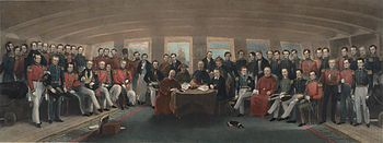 This is a painting of the signing of the 'Treaty of Nanking' which ended the first Opium War! In this treaty the Qing government had to pay Britan six MILLION silver dollars for the confiscated Opium, plus 3 million dollars in debts and finally 12 million dollars for the cost of the war. Also, Hong Kong became a 'Crown Colony'(a type of colonial administration). (MS)  http://en.wikipedia.org/wiki/Treaty_of_Nanking#