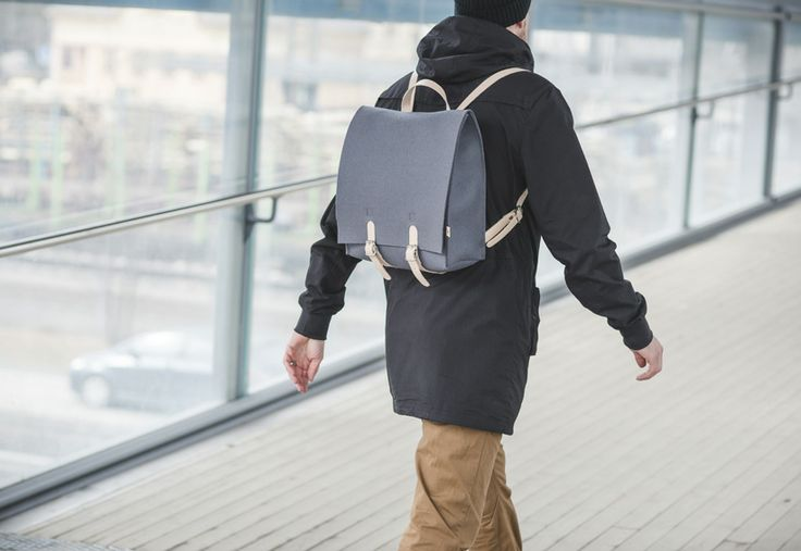 Jonas Hakaniemi for Lahtiset, backpack JHFL 05-02, http://www.lahtiset.fi/fi/jhfl/jonas-hakaniemi-for-lahtiset.html #jonashakaniemi #lahtiset #felt #leather #backpack #grey