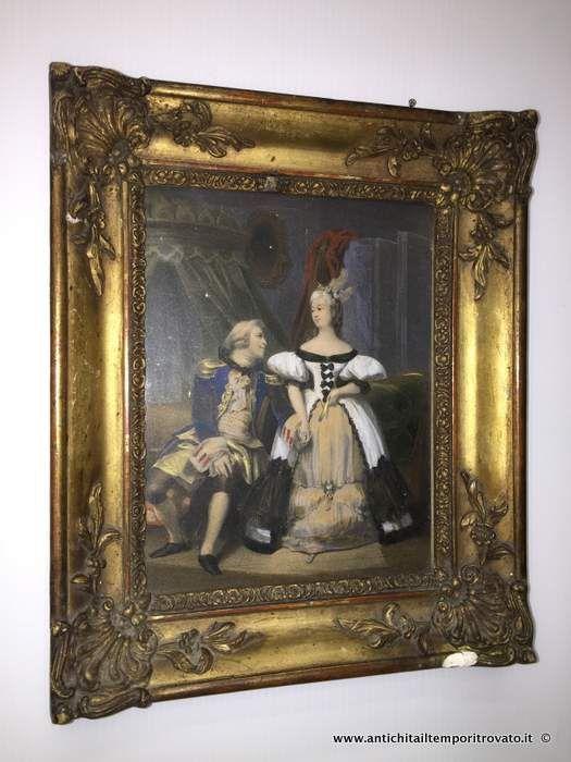 Oggettistica d`epoca - Stampe e dipinti Antica litografia con cornice Luigi Filippo - Antica cornice con litografia prima metà 800 Immagine n°1