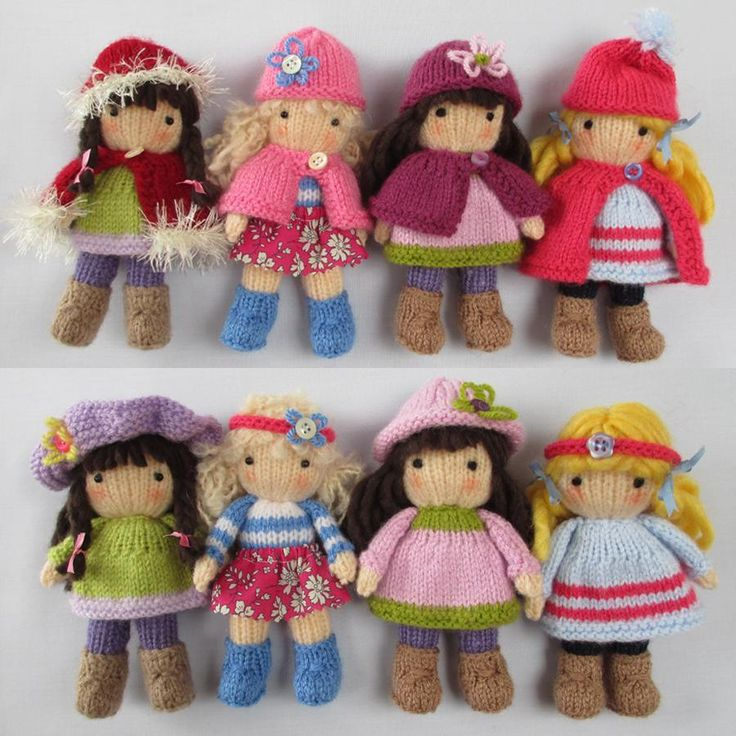 KNITTING PATTERN contains instructions for Little Belles - 4 fashionable little dolls that are fun to make and only require small amounts of yarn. Each one has a summer outfit and a winter outfit and hats and capes are interchangeable.SIZE: LITTLE BELLES - each one is 15cm (6 in)NEEDLES: knitted on two straight 3.25 mm needles (US 3)YARN: Small amounts of DK (double knitting) yarn (USA - light-worsted/Australia - 8 ply)Hayfield Bonus DK – Flesh Tone (963) small amount for head and…