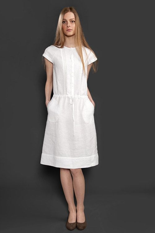 Vestido blanco de lino con encaje adornado vestido de lino puro, ropa de lino, ropa de lino, mujer de verano ropa