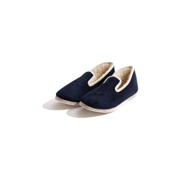 Rondinaud Women's Navy Charentaise Slipper (€38) ❤ liked on Polyvore featuring shoes and slippers