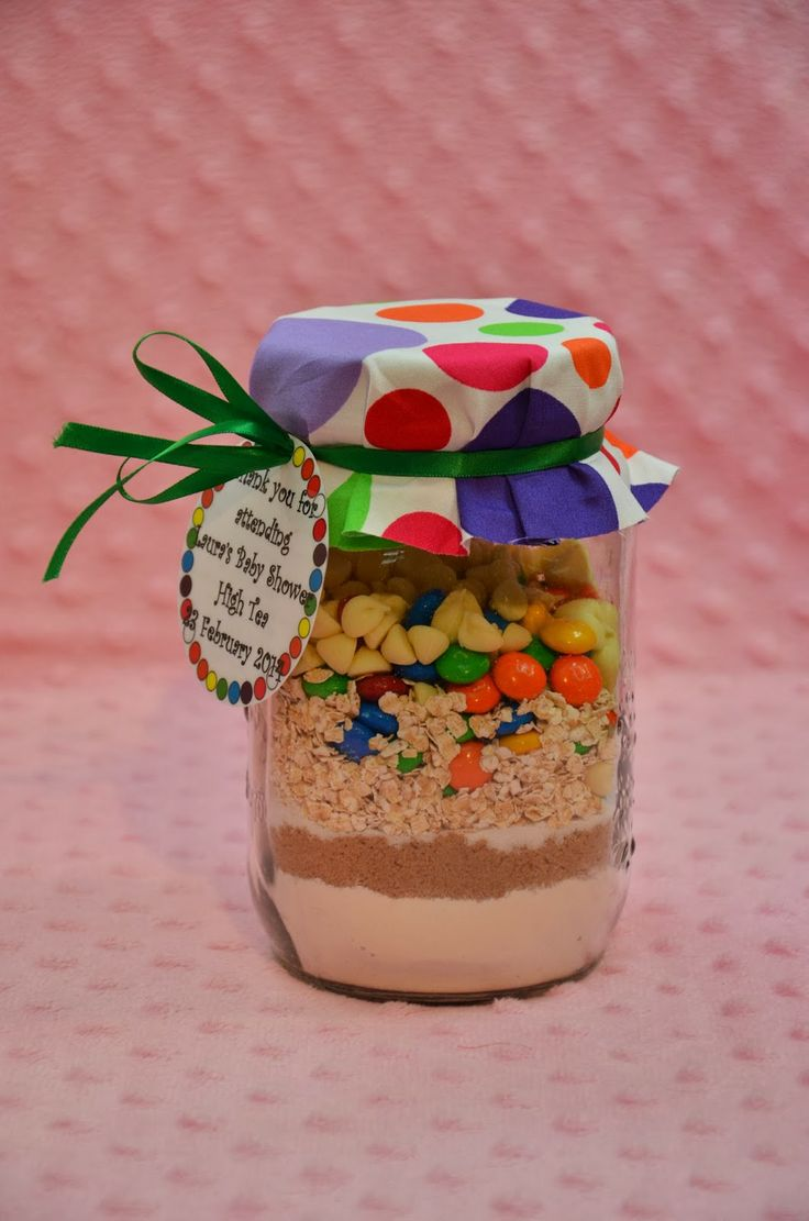 baby shower gift for guests cookie mixture in a jar