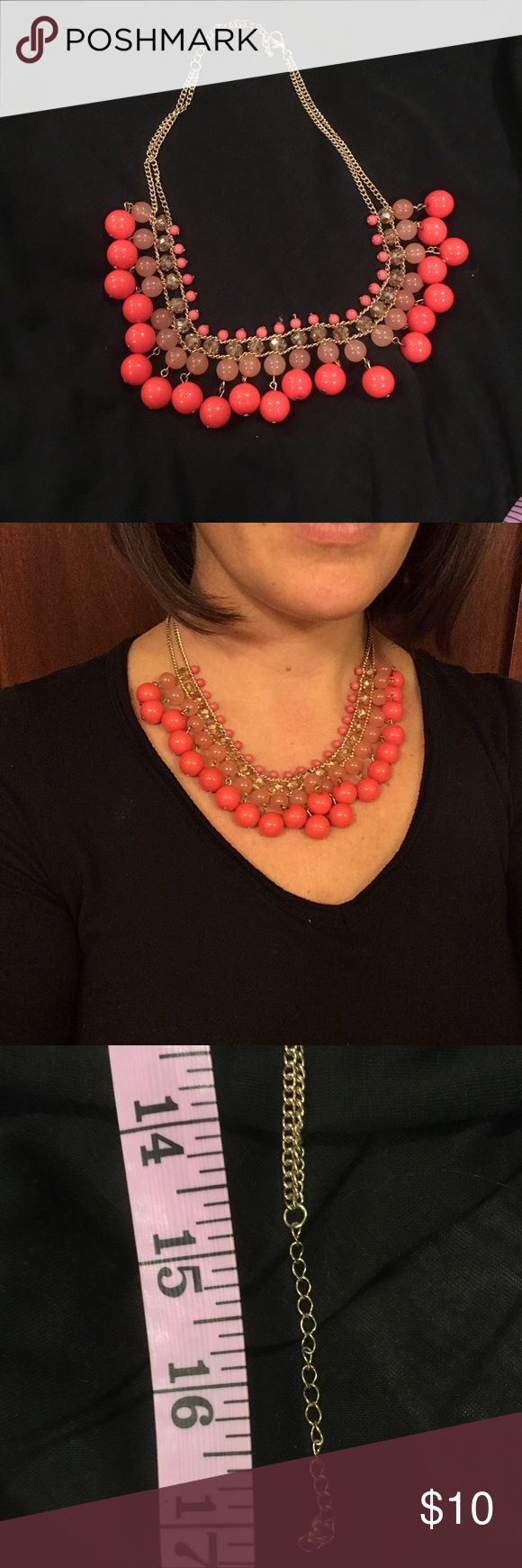 """Coral statement necklace 17"""" statement necklace, gold metal and coral-colored beads. Purchased from Francesca's Collection. Jewelry Necklaces"""