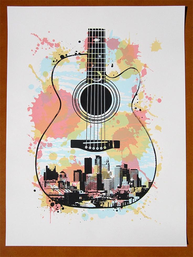 Minneapolis Guitar Screen Print Poster 25 00 Via Etsy