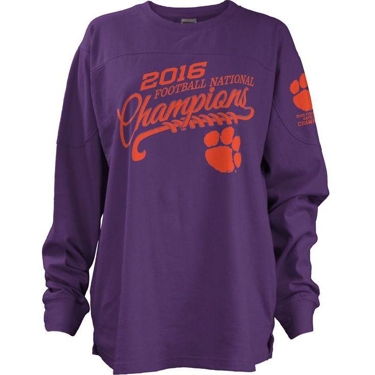 Clemson Tigers Pressbox Women's College Football Playoff 2016 National Champions Long Sleeve Big Shirt - Purple