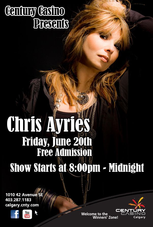 @ChrisAyries  Appearing ONE NIGHT ONLY! this Friday June 20th @CenturyCasinoCa