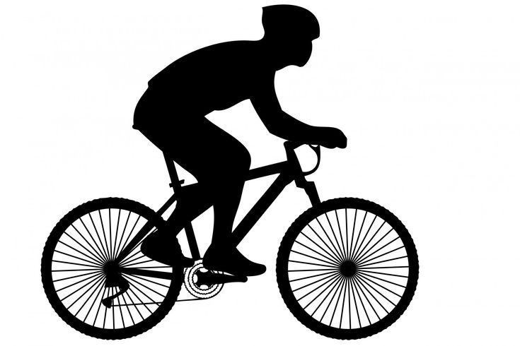 Black silhouette of a cyclist on a racing bike clipart