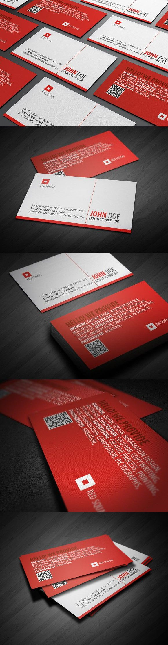 Red Square Qr Business Card Business Cards Business Card Template Psd Business Card Design