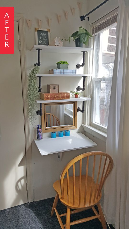 Pipe shelf support for a small desk area