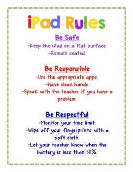 iPad rules that incorporate our school rules! Maybe add pics for kinders?