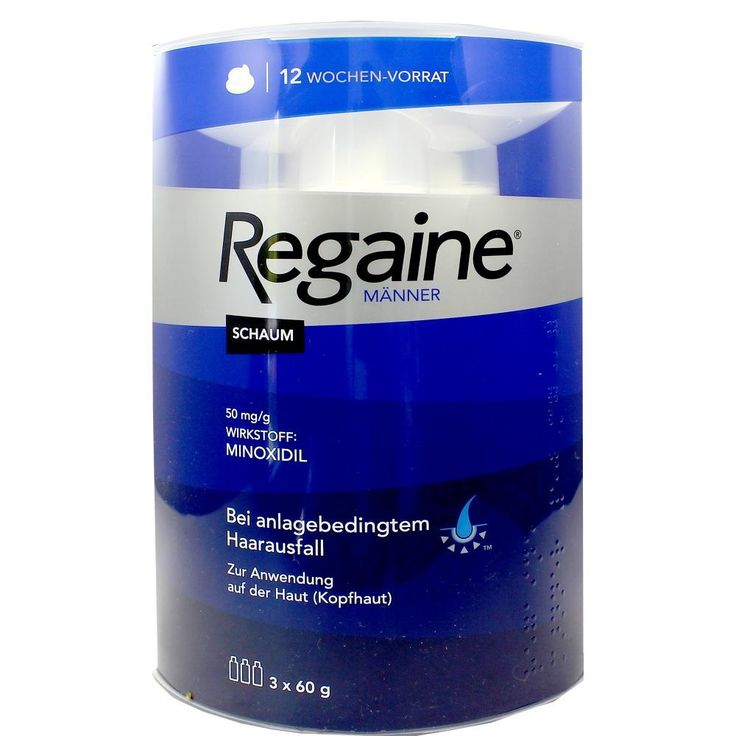 Regaine Männer Schaum 5 Prozent Minoxidil bei Haarausfall:   Packungsinhalt: 3X60 ml Schaum PZN: 09100275 Hersteller: Johnson & Johnson…