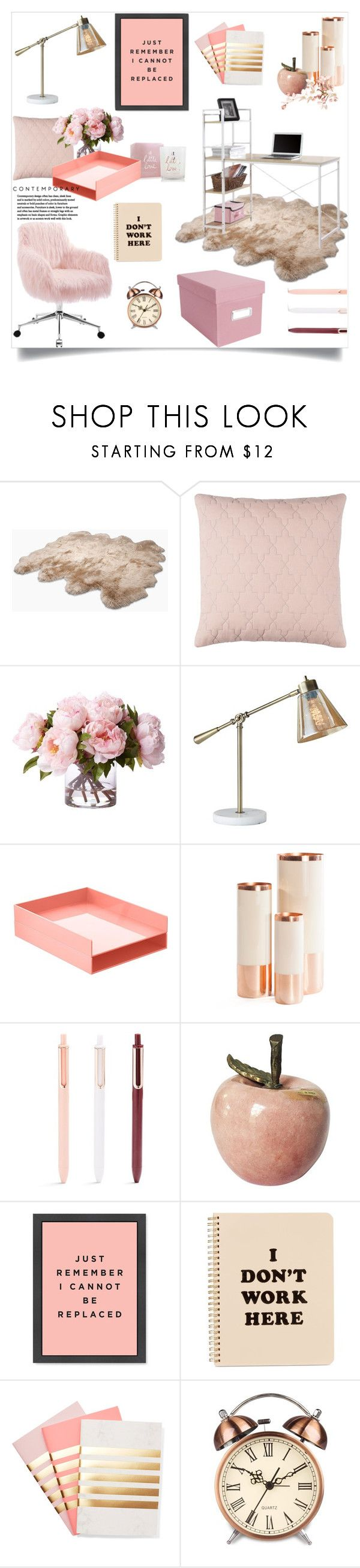 """""""Work Hard: Home Office"""" by celeste-menezes ❤ liked on Polyvore featuring interior, interiors, interior design, home, home decor, interior decorating, UGG Australia, Katie Loxton, Adesso and Hawkins"""