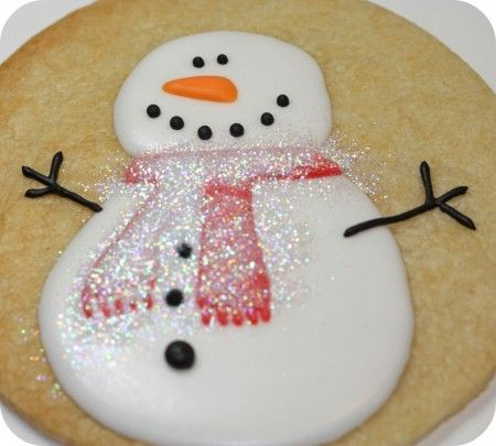 How to Apply Disco Dust to royal icing  and Snowman decorating tutorial