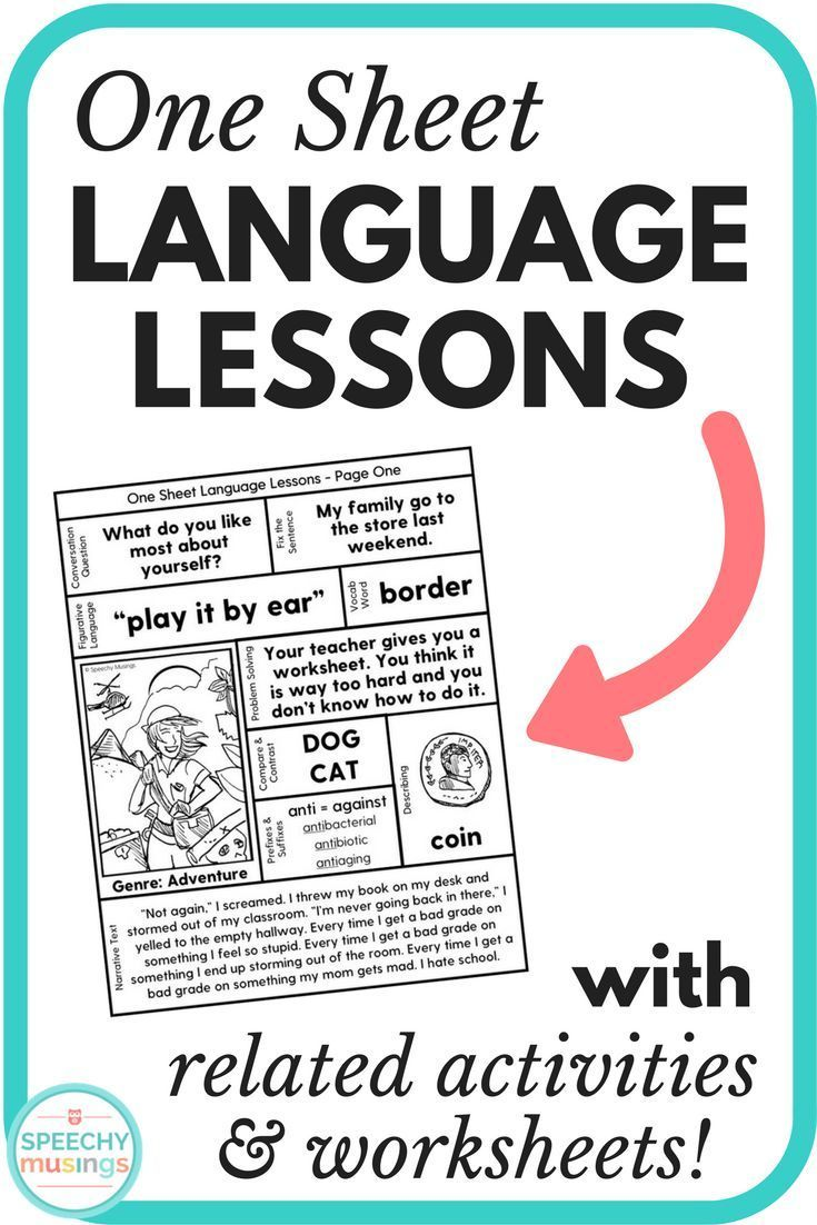 Get 10+ speech and language therapy targets all on ONE page! It's the perfect low prep activity for upper elementary and middle school. Targets vocabulary, narratives, describing, compare and contrast, idioms, grammar, and more! From Speechy Musings.