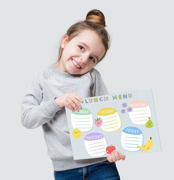 Kids lunch planner - Lunch Menu for kids - Printable planner - Children lunch planner - Printable weekly planner - School lunch menu